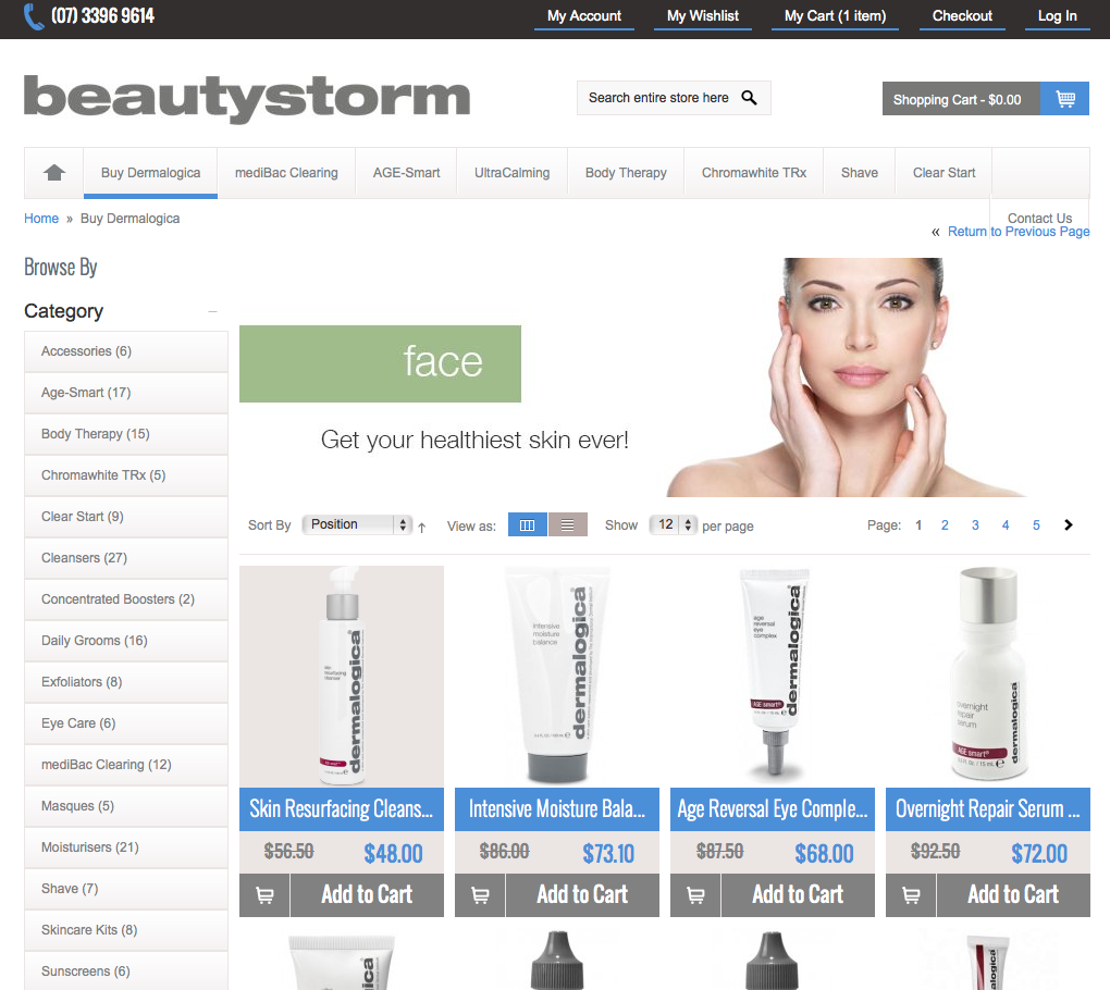 Beautystorm.com.au Magento Website