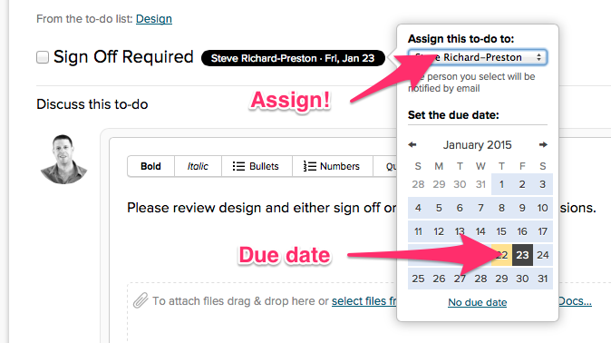Assign ownership of a task in Basecamp