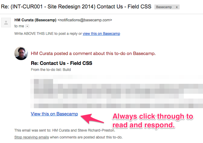 Basecamp Email Notification