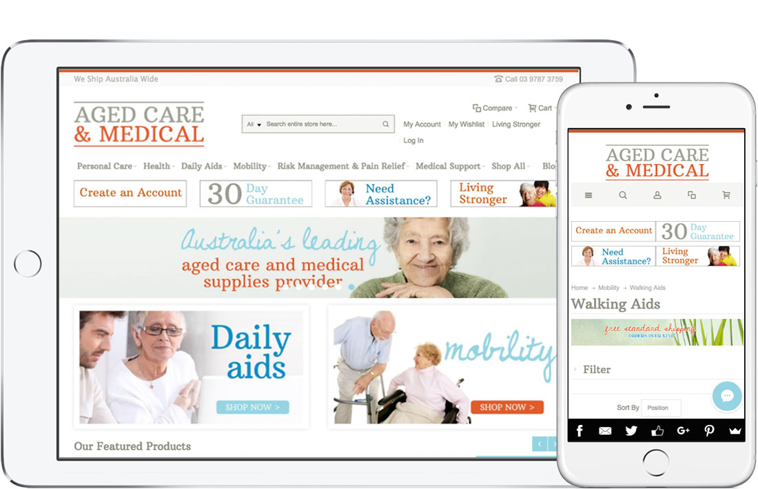 Aged Care and Medical website - Magento + Akeneo PIM