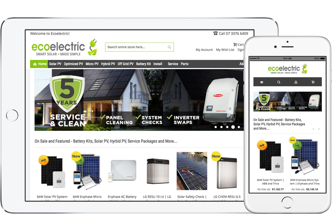 Ecoelectric eCommerce Storefront screenshots